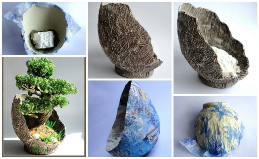 How to make paper mache vase