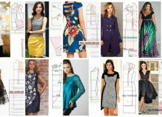 Patterns of different models of dresses