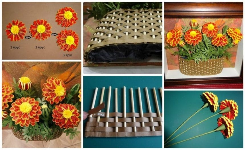 Marigolds in the technique of quilling