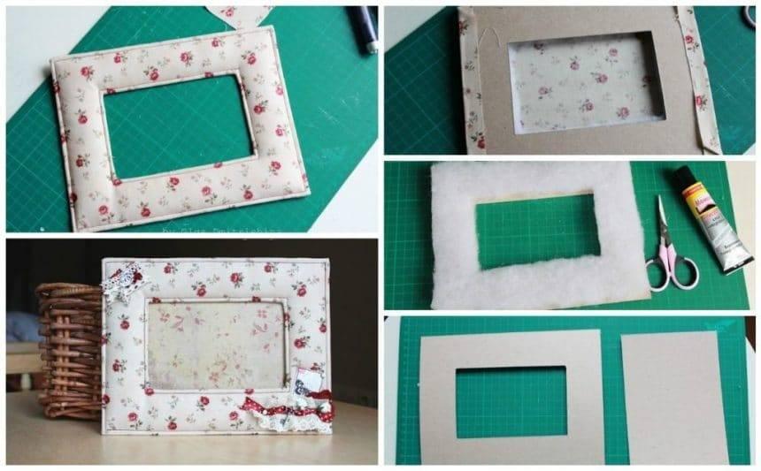 Photo frame made of cloth and cardboard