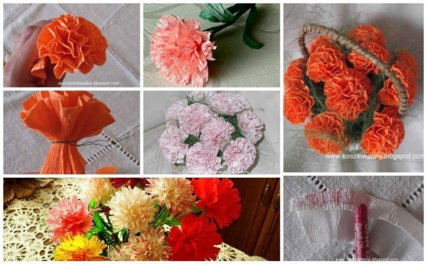 Creating flower arrangements of corrugated paper