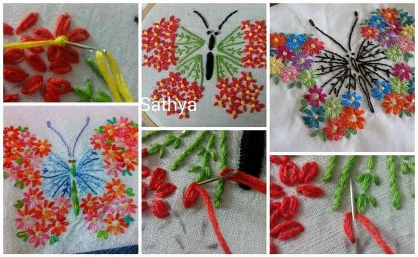 Butterfly from satin stitch,french knot stitch,lazy dasy stitch and stem stitch