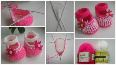 Knitting baby booties