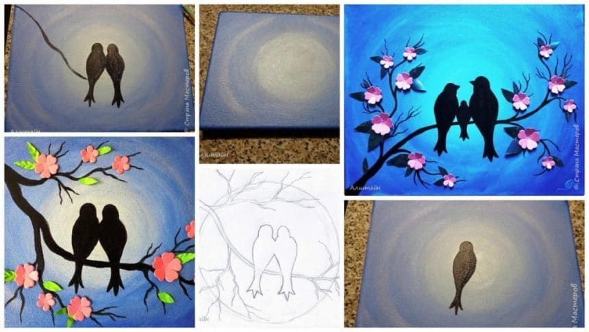 "How to paint""Birds on the branch"""