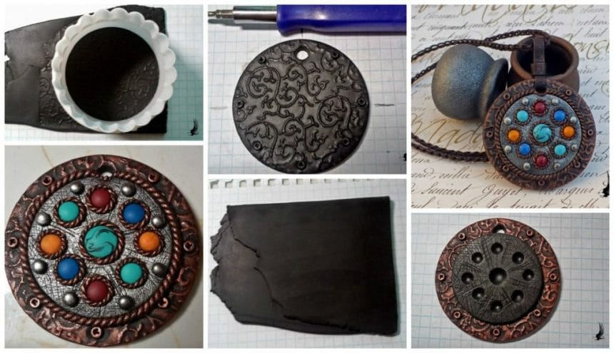 Pendant made of polymer clay