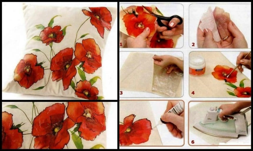 Decoupage on fabric Pillow
