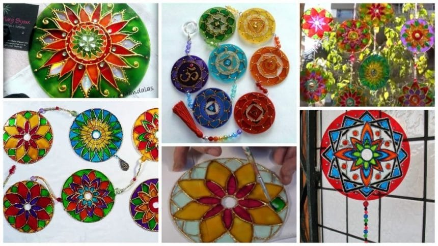 Creating mandalas and recycling CDs