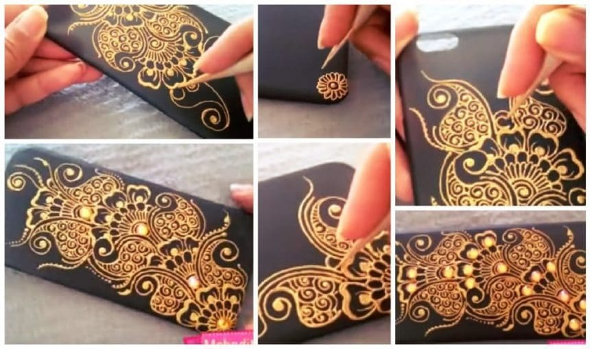 How to make mehndi  Art on Phone Case