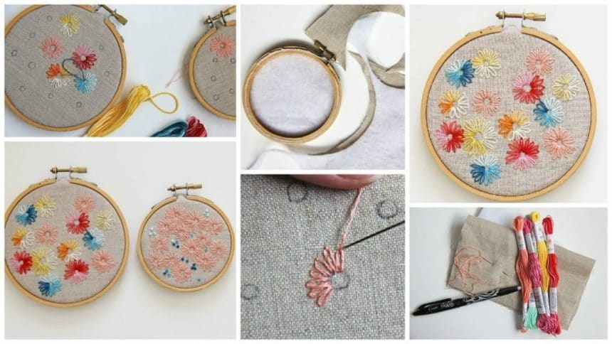 How to lazy daisy hand embroidery stitch