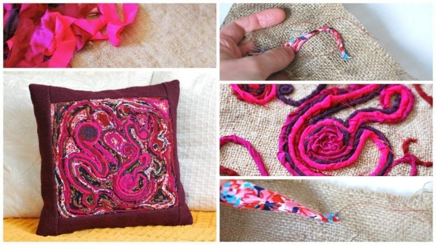 Abstract Embroidery Pillow