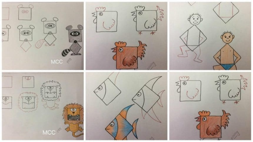 Kids friendly drawings with squares as a base