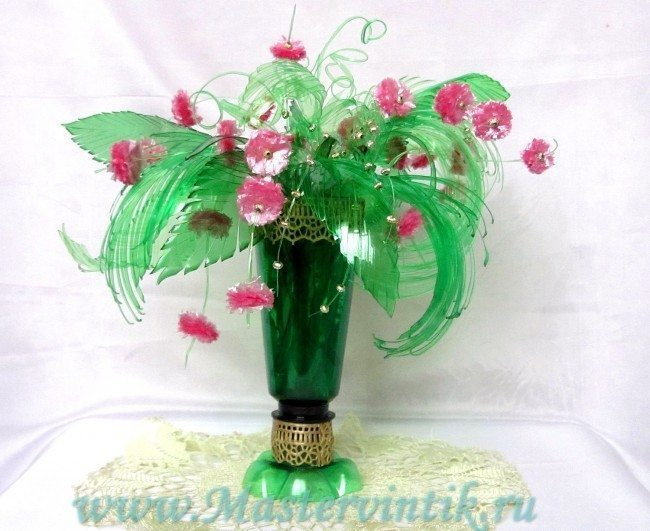 Bouquet Of Flowers From Plastic Bottles Simple Craft Ideas