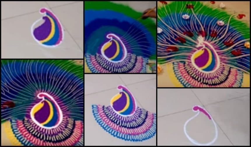 Diwali special peacock rangoli design