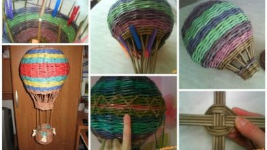 Weave from newspaper tubes balloon