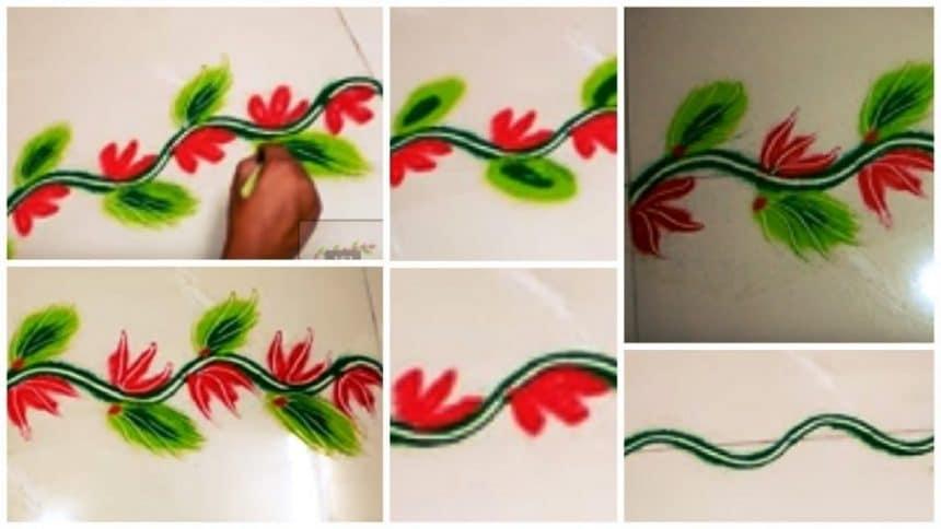 Simple and easy colourful border rangoli design