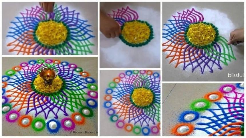 Multicolored flower rangoli