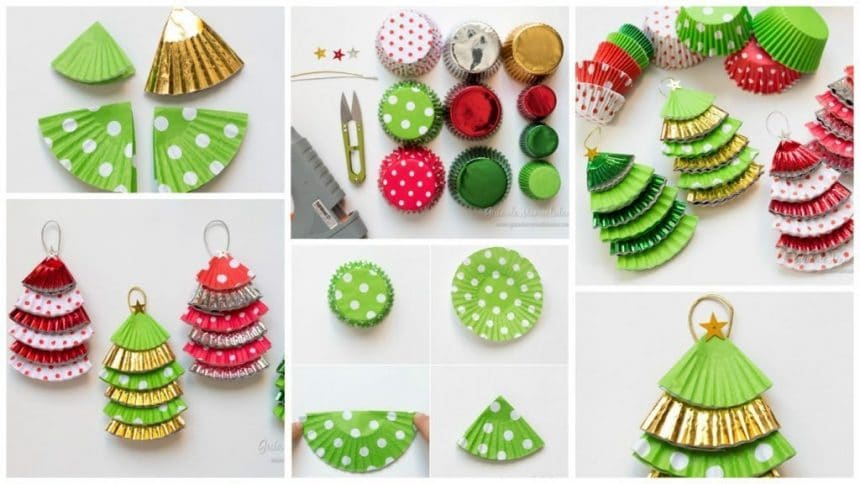 Christmas decorations with paper molds for cupcakes