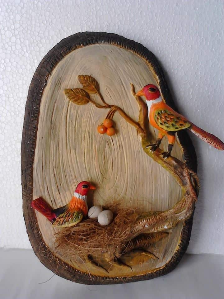 How To Make 3d Clay Mural Art Love Birds Simple Craft Ideas