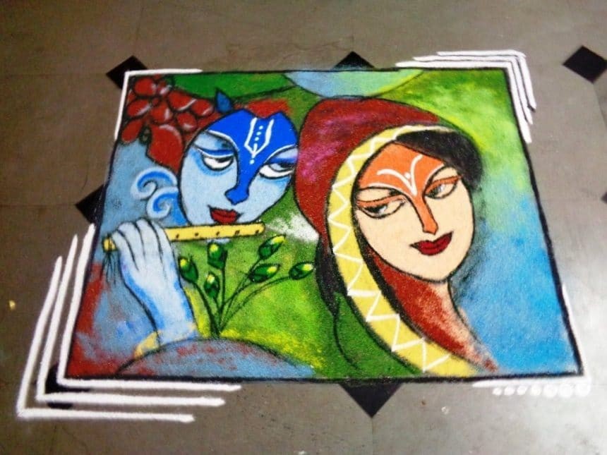 How to draw Radha-Krishna poster(Rangoli) - Simple Craft Ideas
