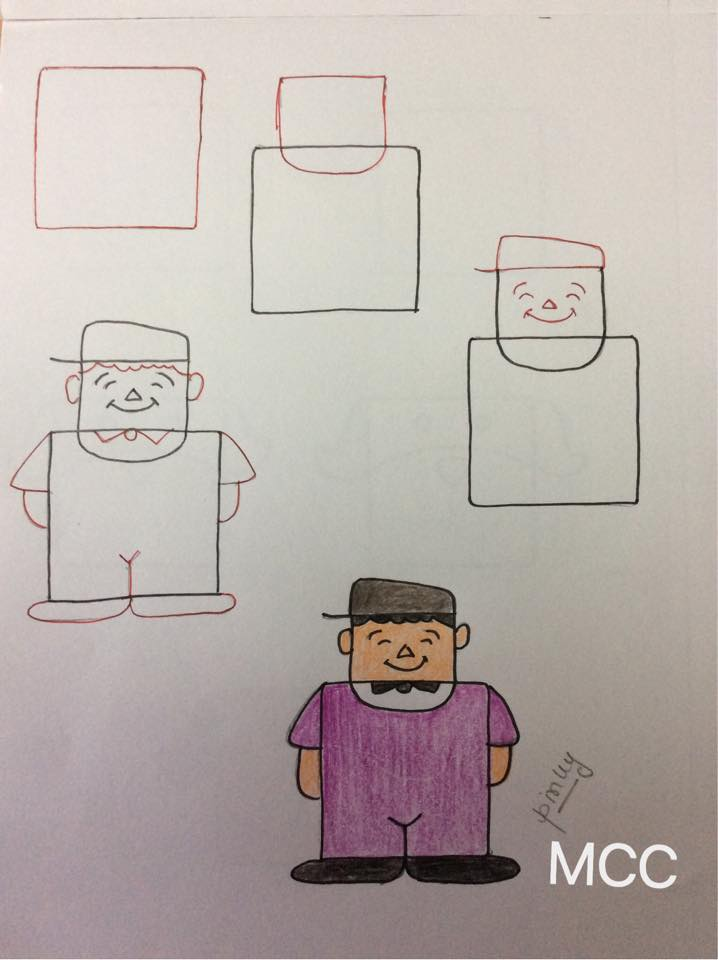 Kids Friendly Drawings With Squares As A Base Simple