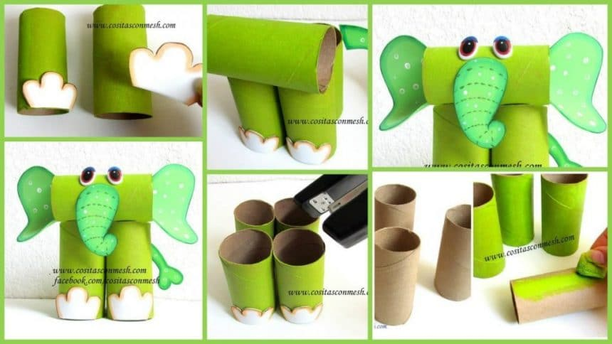 How to make elephant from rolls of toilet paper