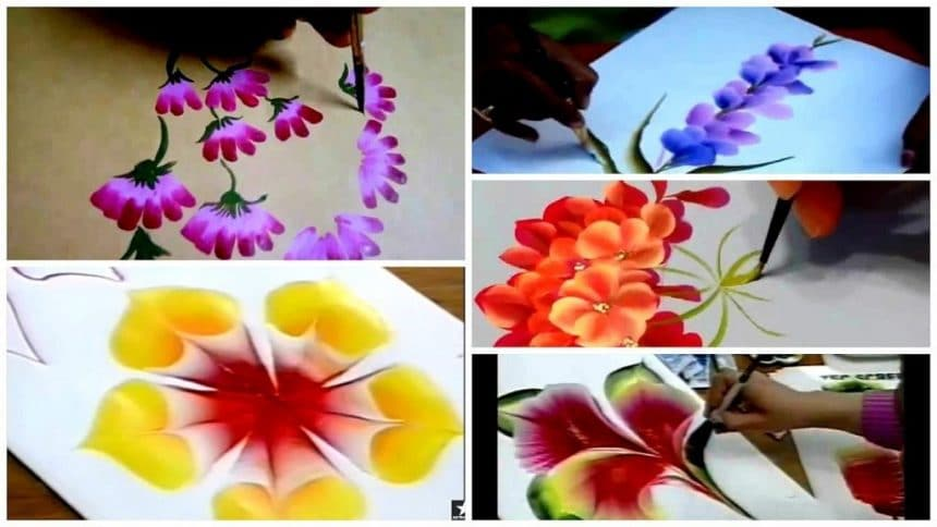 Different types of flowers from  one stroke painting