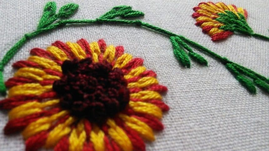 How to make long and short stitch flower