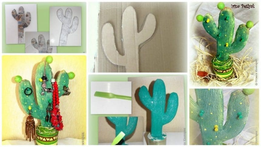 How to make cactus shaped jewellery organizer