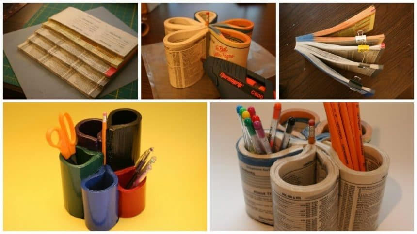 How to make pencil stand from old magazines