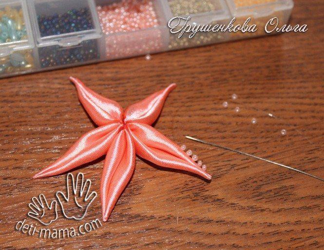 starfish from satin ribbon(151)