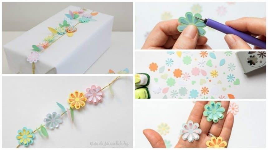 Flower garland gift wrapping