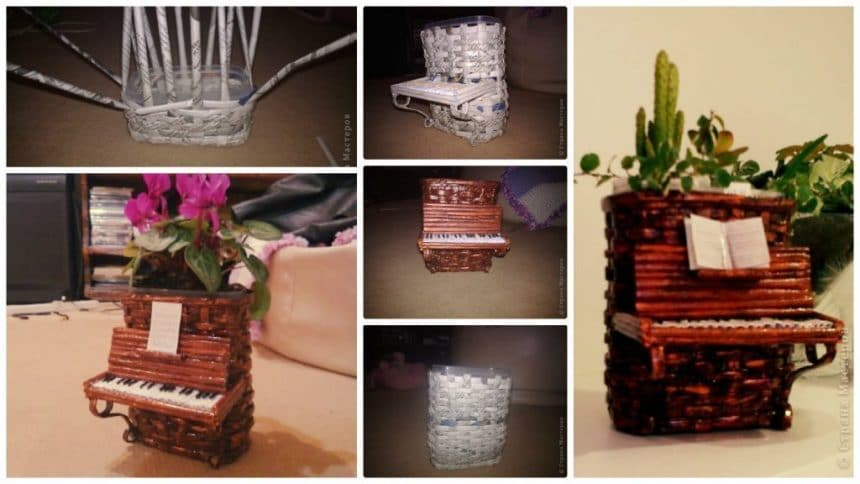 How to make piano flower vase from newspaper tubes