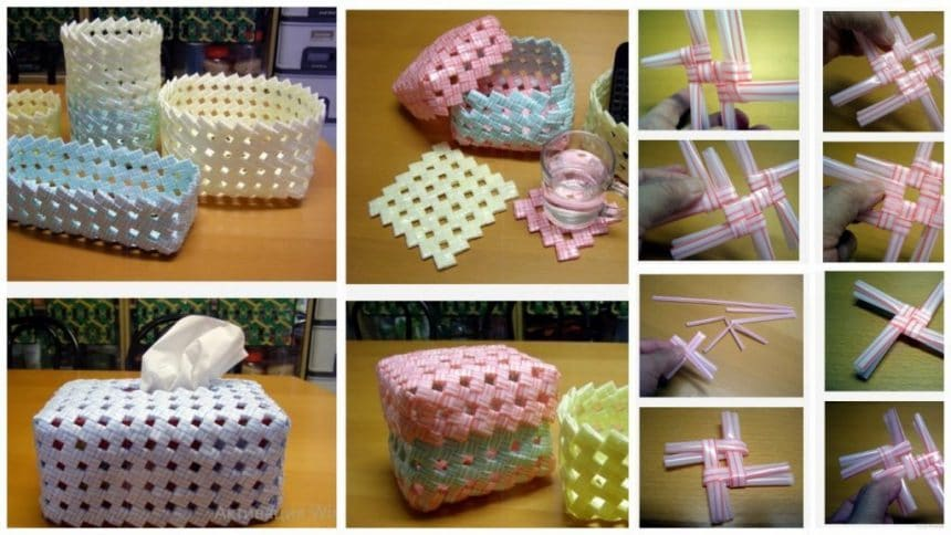 How to make creative drinking straw basket