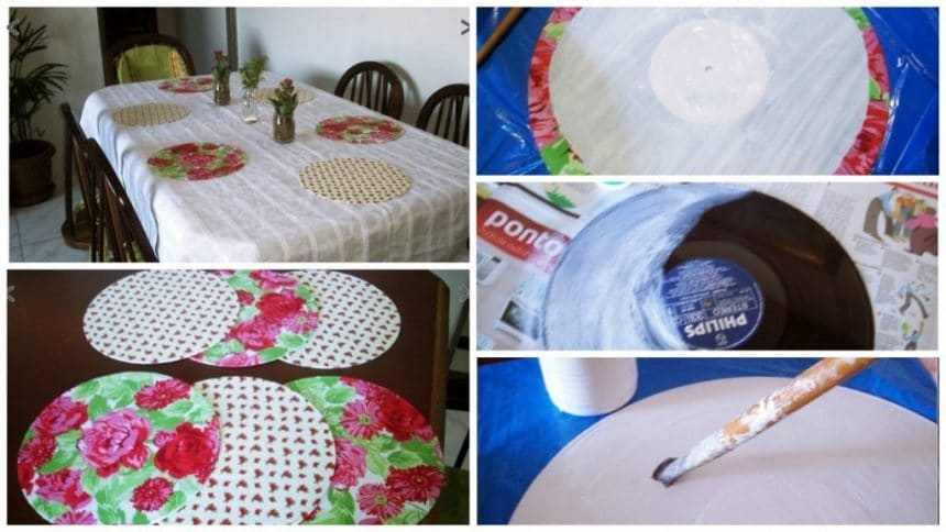 How to make sous plats from vinyl records with fabric