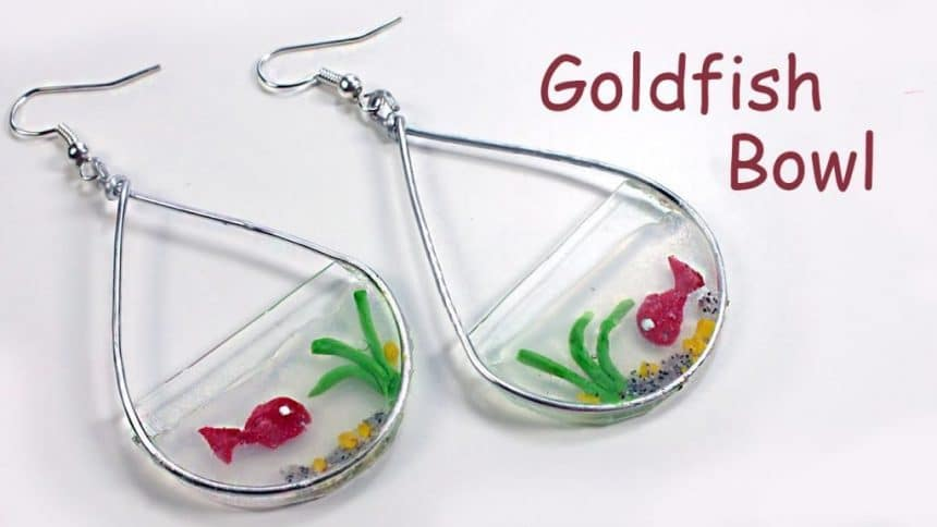 Goldfish bowl polymer clay water effect earrings