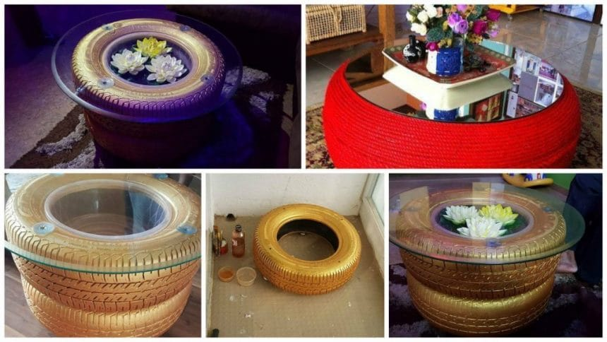 Old tire turned into a coffee table