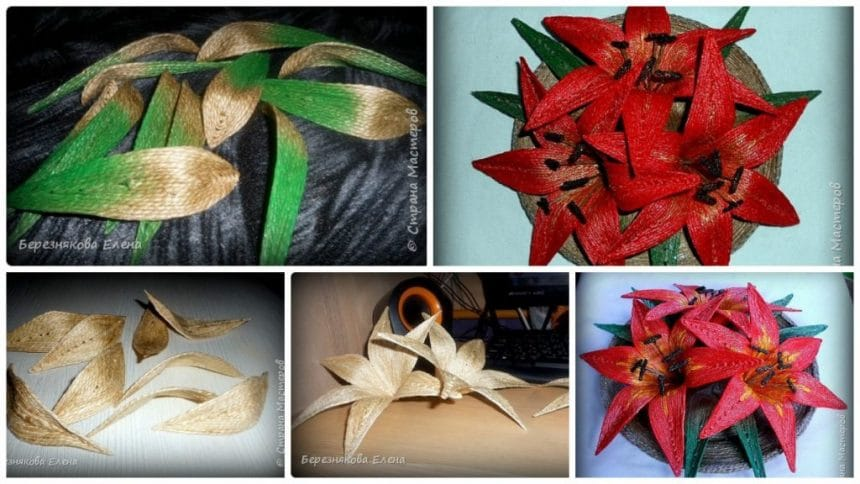 How to make lilies of red twine