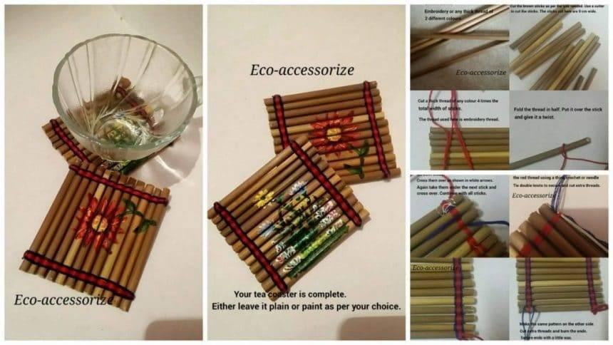 Tea coasters made from broomsticks