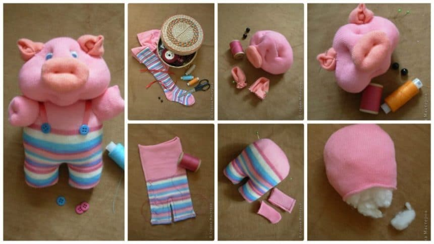 Learn how to make pig from stockings