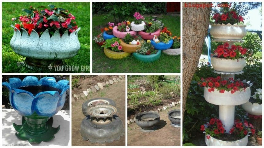old tire usage – Learn how to make vase from old tires
