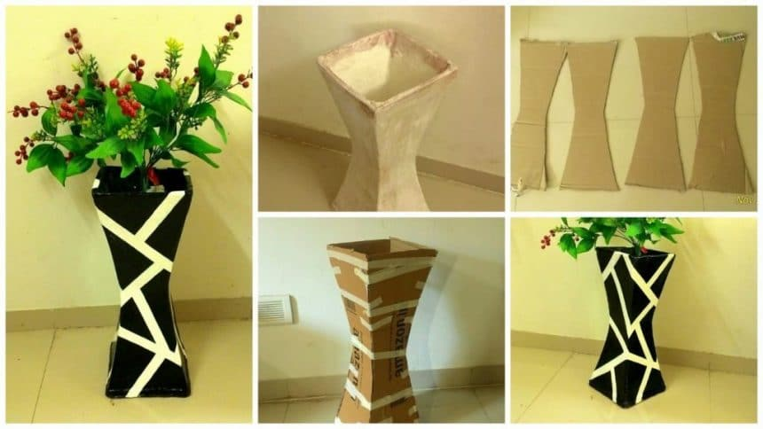 How to make vase from cardboard