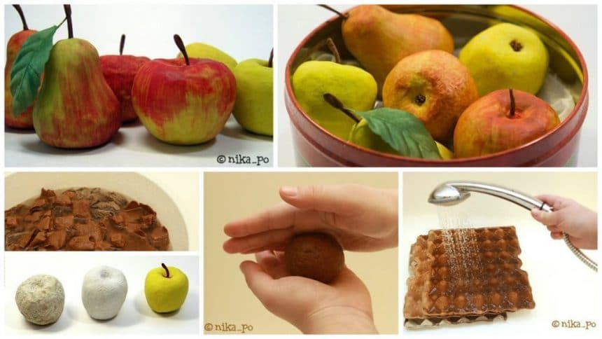 How to make apple from paper mashe