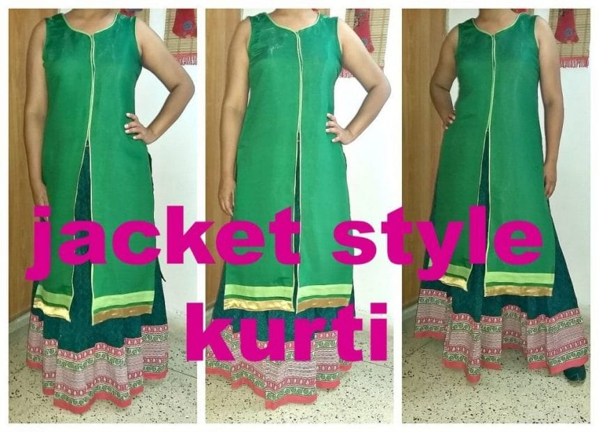 Jacket style kurti with front open slit - Simple Craft Ideas