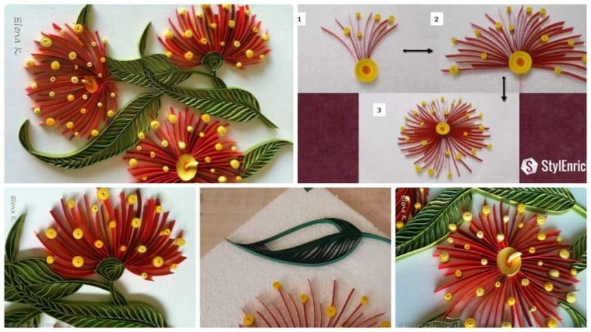 How to make eucalyptus flower from quilling