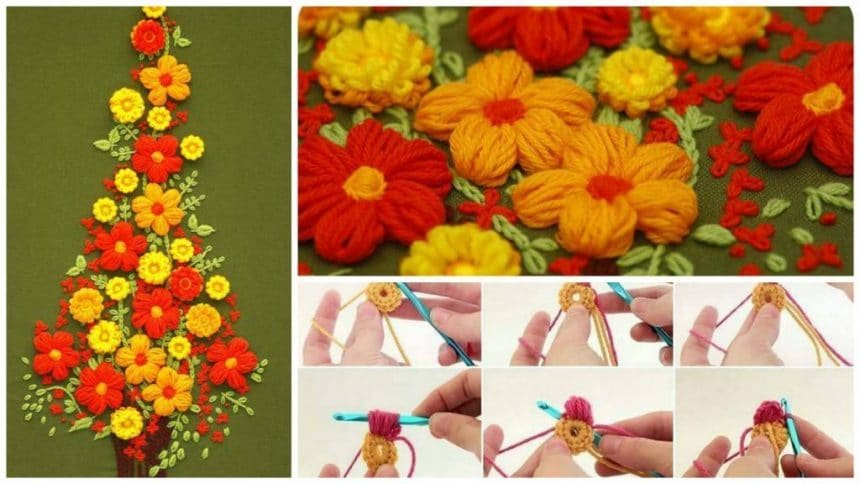 How to make puff flower embroidery