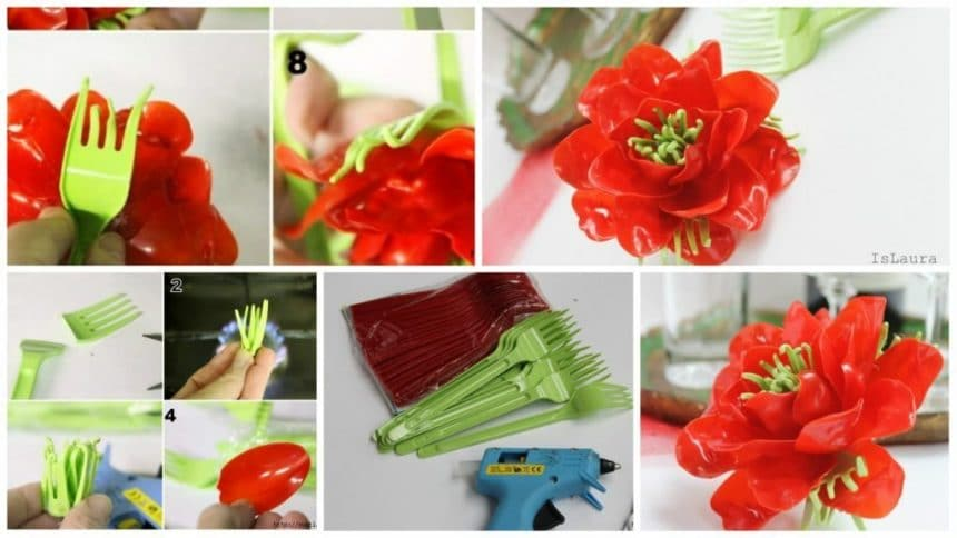 How to make flower from plastic spoons and forks
