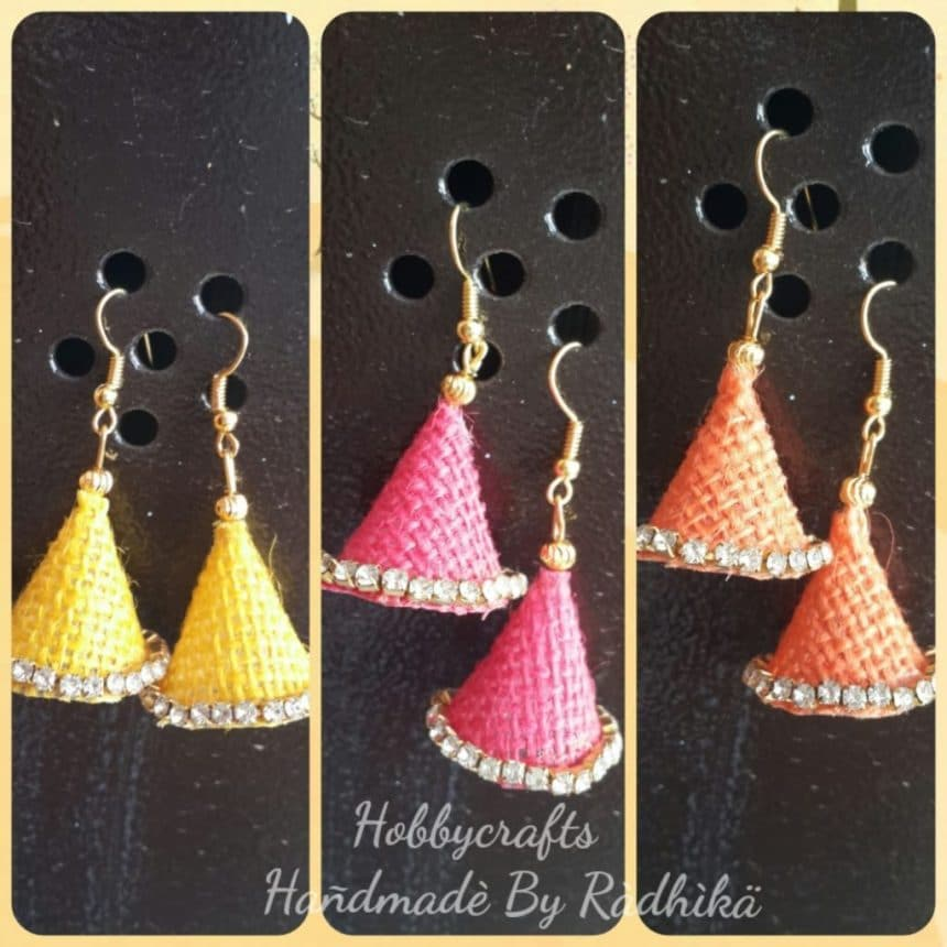 creative jute jhumka making with pictures
