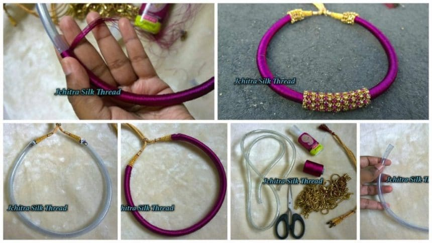 silk thread necklace models with steps