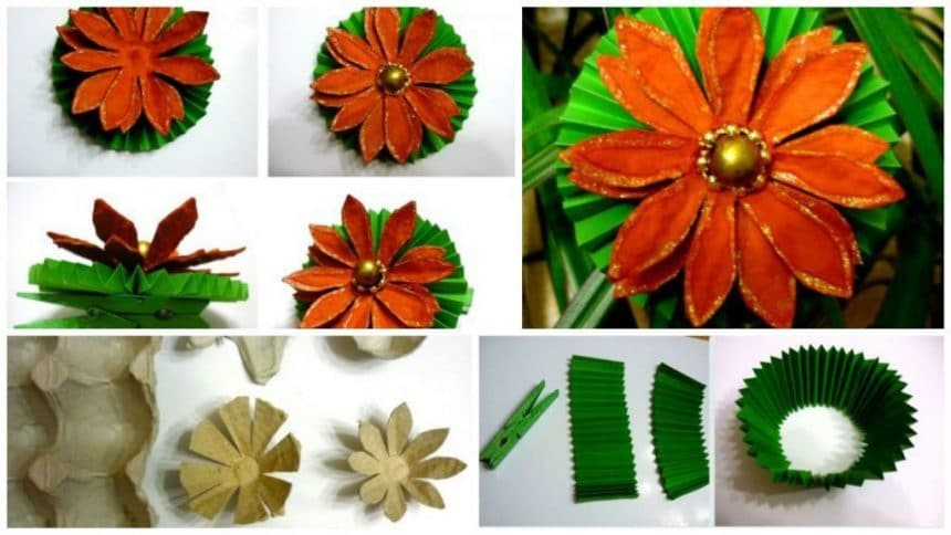 How to make flower from egg trays