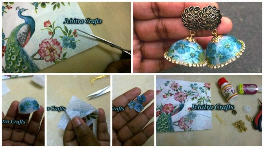 How to make decoupage jhumka